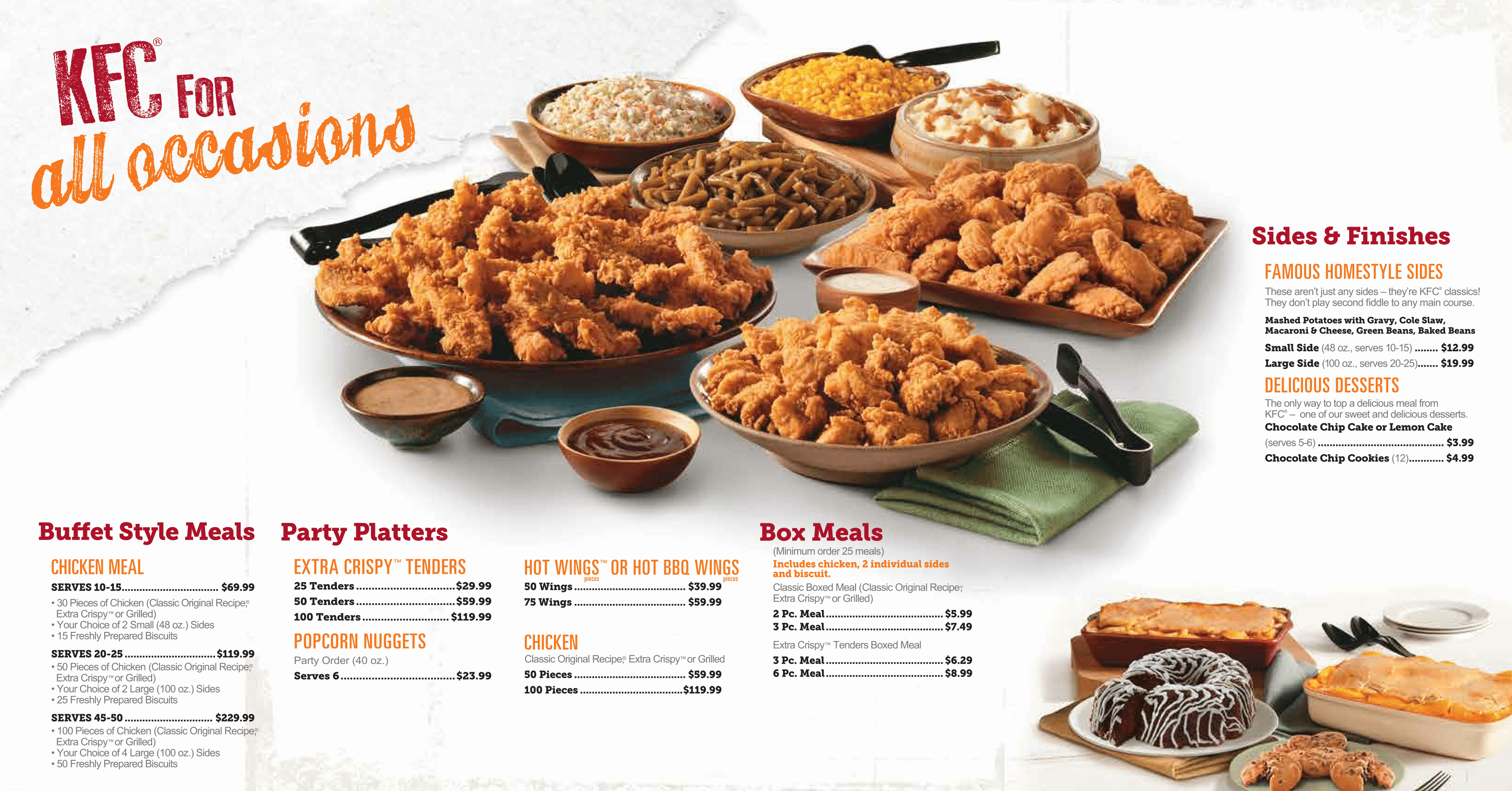 KFC Catering Menu Prices PDF