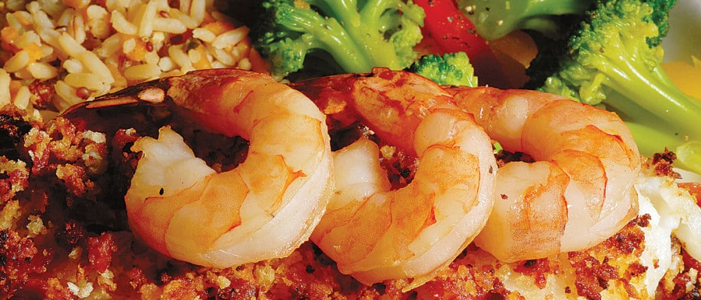 Barbecued Shrimp Served with Pecan Rice