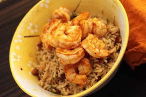Tasty Thirty Minute Dinner Recipes Barbecued Shrimp Served with Pecan Rice