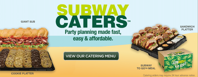 Subway catering all catering menu prices for Pf changs garden walk